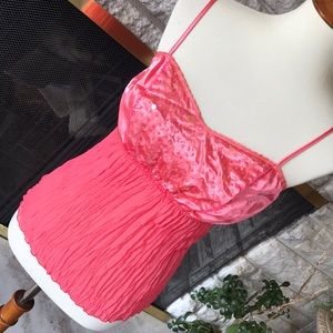 Gorgeous beaded pleated spaghetti strap top